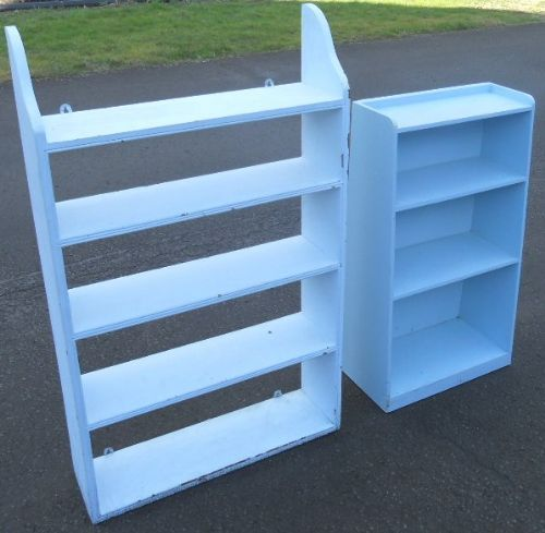 Two Painted Open Shelves / Bookcases